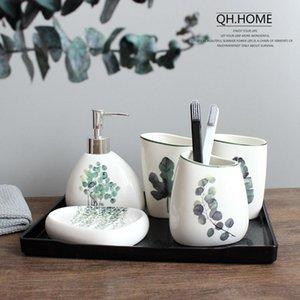Nordic Green Plant Ceramic Bathroom Accessories Soap Dispenser Simple Wedding Bath Set Toothbrush Holder Ceramic Set Melamine Tray