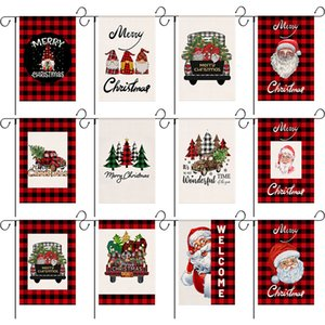 47*32cm 18.5*12.6inch Merry Christmas Garden Flag Double Sides Burlap Santa Claus Outdoor Yard Home Hanging Banner House Flags Xmas Gift New Year Decoration JY0716