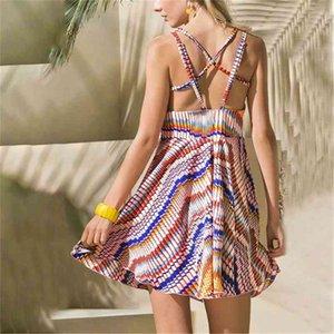 Women Sundresses Striped Printed Sexy Bohemian Summer Cold Shoulder Beach Dress Adjustable Halter Strapless Dress Party Dresses