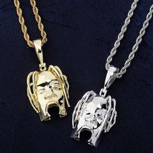 Travis scott mask pendant necklaces for men women luxury designer hip hop pendants gold silver copper singer star head necklace jewelry gift
