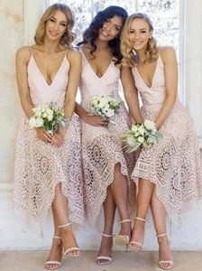 Sweety Pink Lace Bridesmaid Dresses A Line 2021 Country Wedding Guest Prom Gowns Spaghetti Straps Sexy Maid Of Honor Dress Plus Size Women Party Wear AL8889
