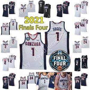 2021 Final Four 4 NCAA College Gonzaga Pallacanestro Jerseys 1 Jalen Suggs 2 Drew Timme Corey Kispert Jersey Casa Away Bianco Grigio Navy Black Adulto Uomini giovani ragazzino
