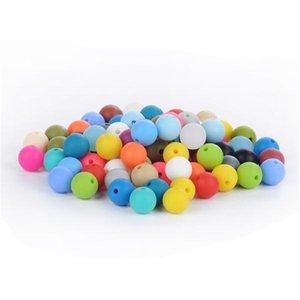 Branelli in silicone 12mm perline di ubicazione perle di dentizione infermieristica chewing tondo rotondo perline allentate colorate collana fai da te collana teether gioielli sensoriale 162 w2