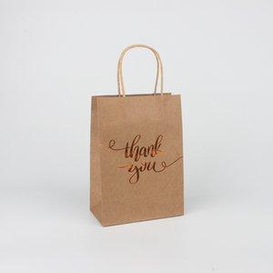 Sacola de compras Impressão Logotipo Saco de papel kraft de presente kraft Obrigado sacola de papel kraft 15 * 8 * 21cm 1237 v2