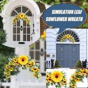 Decorative Flowers & Wreaths Artificial Sunflower Summer Wreath Fake Flower With Yellow And Green Leaves For Front Door