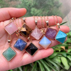 Reiki Healing Jewelry Natural Stone Necklace Quartz Pendulum Lapis Opal Pink Crystal Pyramid Pendant Amethyst Necklaces Women