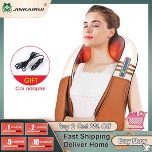 (with Gift Box) JinKaiRui U Shape Electrical Shiatsu Back Neck Shoulder Body Massager Infrared Heated Kneading Car Home Massage