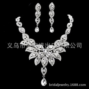 Two piece V-shaped fashion bride Necklace Earrings