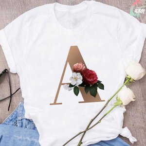 Stylish And Fun Gold Alphabet Flower Ladies T-shirt Harajuku Kawaii Graphic Print Fashion O-neck Women's Clothes Tops Blouses & Shirts