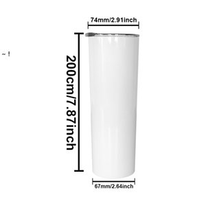 20oz sublimation Mug straight tumblers blanks white Stainless Steel Vacuum Insulated Tapered Slim DIY 20 oz Cup Car Mugs by sea RRE10638