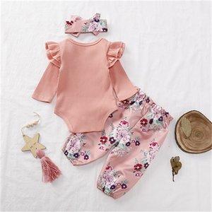 Newborn Baby Romber Установите младенческие девочки сплошные вязаные кружева с длинным рукавом ползунка детская одежда набор лук-галстуки маленькие цветочные штаны с повязкой 413 U2
