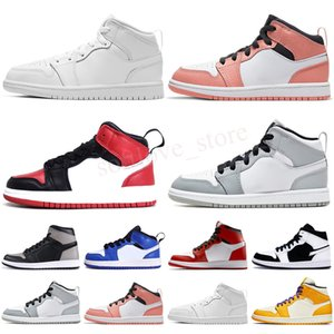 2021 Classic 1 Red Mid Magic Button shoes Children Boy Girl Kid youth Basketball sports skate sneakers size EUR24-35