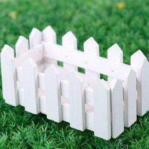 Белый деревянный забор для симуляции цветочные композиции горшки мясные завод маленький Y0314