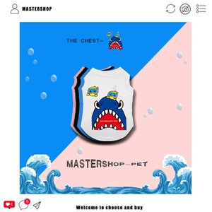 Fashion Mastershop Brand Clothes Summer Pet Pure Cotton Cat and Dog Short Sleeve Cute Shark Vest