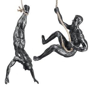 Kreative steinklettern statuen anhänger retro harzfiguren extrem sport wand hängen ornament bar wohnzimmer hause muskel mann skulptur dekoration