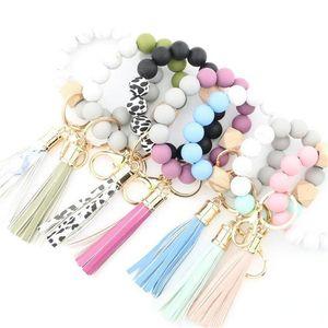 2021 Mode Silicone Bead Bracelets Beech Tassel Porte-clés Pendentif Bracelet en cuir Bijoux pour femmes 14 Style 496