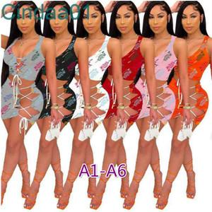 Vestidos de mujer Diseñador Dos piezas Conjunto Summer Sexy Playa Ropa de impresión Letra Sin mangas Slim Night Club Wear Cult Top Mini Skirt Traje