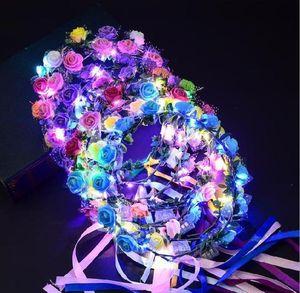 New Style LED Flower Wreath Wedding Dress Hair Garland Bridal Bridesmaid Floral Crown Hawaii Seaside Holiday Decor Accessories