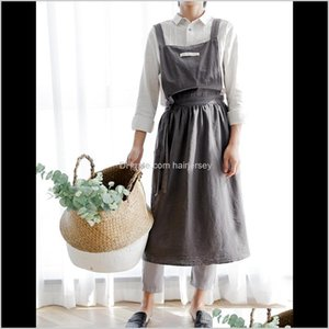 Aprons Senyue Pleated Skirt Cotton Linen Women Cooking Kitchen Apron Work Uniform And Flower Shop For Woman Dress 3Aahh Grwut