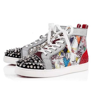 Fashion Luxury designer fashion brand high-top stud sneakers men and women casual high-top studs thick-soled sneakers