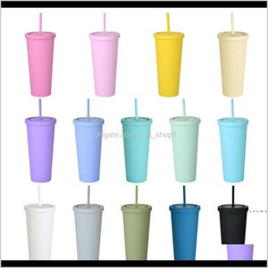 Commuter Travel Mugs 22Oz Double Layer Cups Fashion For Adults Kids Straight Coffee Candy Colors Plastic Frosted Water Cup With St U1F 9Rlmw