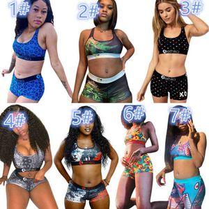 Летние двух частей брюки этики женские дизайнерские купальники спортивный бюстгальтер + шорты 2 шт.