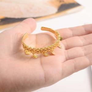 Small Cute Gold Dubai India Africa Bangle Arab Jewelry Charm Girls Anklet Bracelet For Kids Baby Birthday Gift