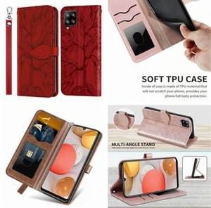 Emboss Tree Premium Leather Cases For Samsung A12 5G A32 S9 S10 S20 FE S21 PLUS NOTE 9 10 PRO 20 Ultra Wallet Flip Folio Strap Stand Card Phone Cover