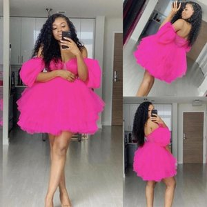 African Fuchsia Off Shoulder Mini Homecoming Dresses 2021 Sleeves Short Party Dress Robe De Soiree Puffy Tulle Prom Cocktail Gowns