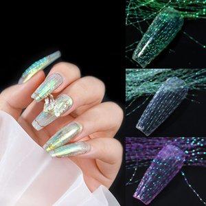100pcs pack Fluorescent Thread Nail Art Sticker Laser Glitter Mesh Net Line Tape Holographic 3D Silk Foils Manicure DIY Accessories for Women Girls Nails Decoration