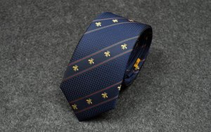 dark blue small bee Neck Ties Men Classic Silk Tie Mens Business Neckwear Skinny Grooms Necktie for Wedding Party Suit Shirt with Casual