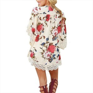Floral Chiffon Loose Shawl Women Shirts Kimono Cardigans Tops Boho Open Stitch Cardigan Beach Wear Blouse Summer