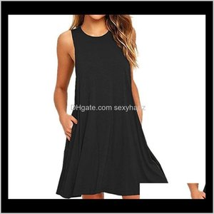 Dresses Womens Clothing Apparel Drop Delivery 2021 Summer Casual Pockets Cotton T-Shirt Sleeveless Loose Solid Tank O-Neck Plus Size Women Mi