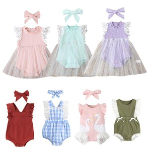Rompers 2Pcs Cute Floral Romper Baby Girls Clothes Jumpsuit Romper+Headband Sleeveless Toddler Born Outfits