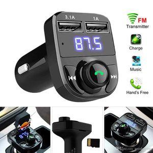 Bluetooth FM الارسال محول لاسلكي محول سيارة كيت مع شاحن شحن USB المزدوج مشغل MP3 دعم بطاقة TF USBS القرص