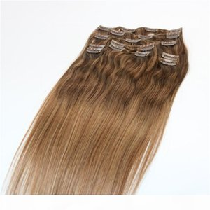 Clip In Human Hair Extensions Brazilian Virgin Hair Three Tone Ombre Dye Color Balayage Blonde Highlights 9pcs 120gram