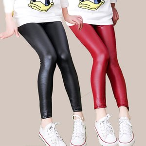 Children's pants leggings Autumn new thin models girls Pu leather popular imitation leather pants Elastic Solid Kids Trousers 930 X2