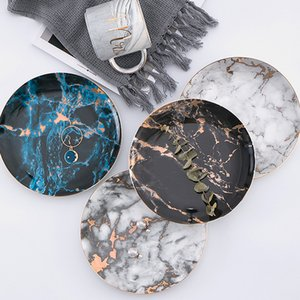 Marble Plates Ceramic Dishes Gold Inlay Porcelain Dessert Plate Steak Salad Snack Cake Plates Tableware Dinnerware 8styles RRA2007 781 Y2