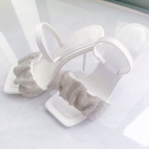 Fairy Summer New Style W-diamond King Sandals Women's Thin Square Head Small Super High Heel Shoes S5V7