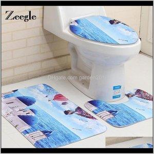 Zeegle Mediterranean Style 3Pcs Nonslip Bath Rugs Set Coral Fleece Bathroom Floor Mats Washable Toilet Cover 6Q3Am P6Vde
