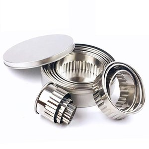 Stainless Steel Fluted Edge Round Cookie Biscuit Cutter Set 12 Pieces Graduated Ring Sizes Baking Moulds