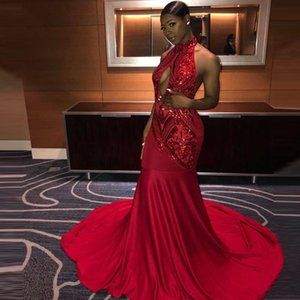 Charming Evening Dress Sequined Appliques Mermaid Red Prom Dresses Halter Keyhole Neck Long Sexy Party Gowns Robe de mariée