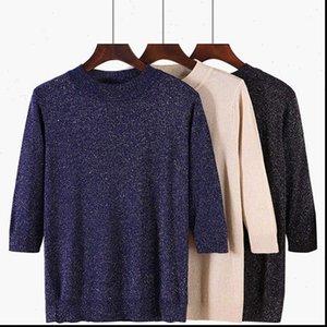 Women Sweater Pullover Lurex Glitter Knitted Pull Over Tops Spring Autumn Half Sleeve Elasticity Crewneck Female Jumper