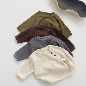 Spring New Baby Boys Girls Waffle Long Sleeve T Shirts Tops Infant Kids Cotton Comfortable Waffle Sweatshirt 210413