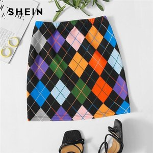 SHEIN Multicolor Geometric Argyle Print Skirts Womens Autumn Ladies High Waist Bodycon Casual Mini Cute Skirt1