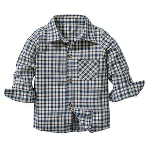 Baby Boys Shirts Fashion Childrens Spring Autumn Long Sleeve Lattice Casual Cotton Shirt Tops Toddler Blouse