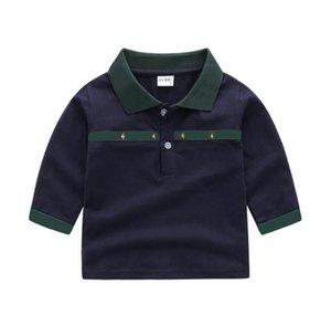 casual Designer kids Baby Boys Girls t-shirts shirts Long Sleeve Turn-down Collar Plaid Blouse tops Childern Cotton white navy tshirt Pullover Girl Sweatshirt
