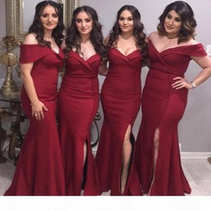 Red Mermaid Bridesmaid Prom Dress Sweetheart Off Shoulder Front Slit Floor Length Draped Party Pageant Vestidos De Maid Of Honor Gowns