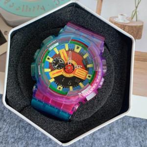 1-GA100 Sports Homme Montre Silicone Band Multi-fonction Chronographe Fashion Mode LED Numérique Hommes et Women's Watch Montre de Luxe