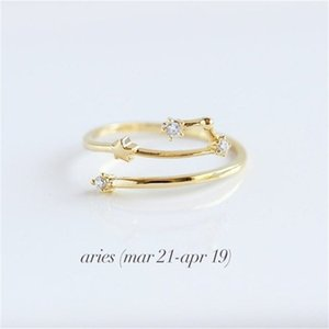Women 12 Constellations Band Rings Rhinestone Amulet Zodiac Signs Gold Silver Rose Gold 3 Colors Fashion Anniversary Jewelry 331 G2